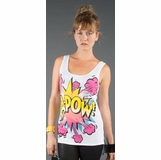 LA Collection Comic Print High-Low Tank Top - White