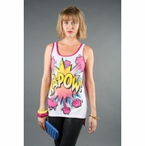 LA Collection Comic Print High-Low Tank Top - White/Red
