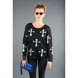 LA Collection Contrast Cross Sweater - Black/White