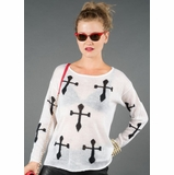 LA Collection Contrast Cross Sweater - White/Black