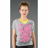 LA Collection Cowgirl Embellished Graphic Tee T-shirts - Gray