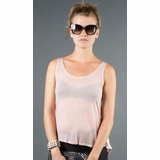 LA Collection Criss Cross Open Back Sleeveles Tee T-shirts - Pink