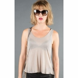 LA Collection Criss Cross Open Back Sleeveles Tee T-shirts - Taupe