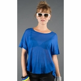 LA Collection Criss Cross Open Back T-Shirt - Cobalt