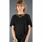 LA Collection Criss Cross Open T-Shirt - Black