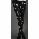 LA Collection Cross Print Leggings - Black