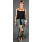 LA Collection Double Layer Open Front Skirt - Teal