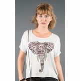 LA Collection Embellished Elephant Dolman Graphic Tee - Gray