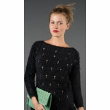LA Collection Embroidered Cross Sweater - Black