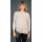 LA Collection Embroidered Cross Sweater - Cream
