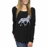 LA Collection Floral Horse Vintage Tee - Black
