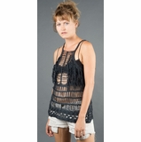 LA Collection Fringe Crochet Sweater Tank - Black