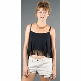 LA Collection Fringe Hem Spaghetti Strap Tank - Black