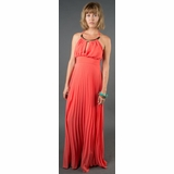 LA Collection Halter Dress with Neckplate - Red