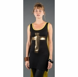 LA Collection High-Low Metallic Cross Dress - Black/Yellow