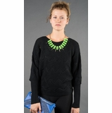 LA Collection Knit Batwing Sweater - Black