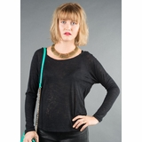 LA Collection Long Sleeve Twist Shirt - Black