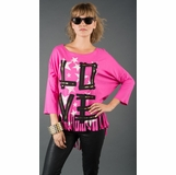 LA Collection Love Shredded Hem Graphic Tee - Pink