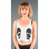 LA Collection Love Skulls Print Crop Tank - White