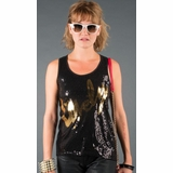 LA Collection Lovely Sequin Tank Top - Black/Gold