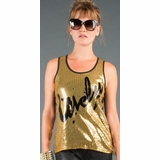 LA Collection Lovely Sequin Tank Top - Gold/Black