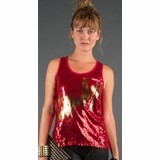LA Collection Lovely Sequin Tank Top - Red/Black