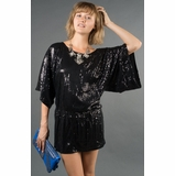 LA Collection Sequined Cinch-Waist Surplus Blouse - Black