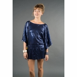 LA Collection Sequined Cinch-Waist Surplus Blouse - Navy