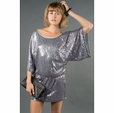 LA Collection Sequined Cinch-Waist Surplus Blouse - Silver