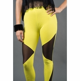 LA Collection Sheer Cutout Leggings - Yellow