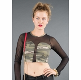 LA Collection Sheer Sleeve Crop Top - Camo/Black