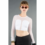 LA Collection Sheer Sleeve Crop Top - White