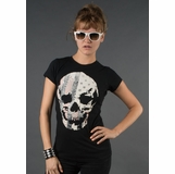 LA Collection Skull Studded Graphic Tee - Black