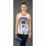 LA Collection Skull with Indian Headdress Fringe Hem Tank Top - White