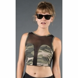 LA Collection Sleeveless Sheer Crop Top - Camo