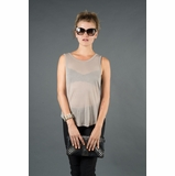 LA Collection Sleeveless Twist Back Shirt - Taupe