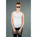 LA Collection Sleeveless Twist Back Shirt - White