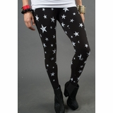 LA Collection Star Print Leggings - Black