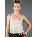 LA Collection Stripe Tank with Heart Embellishment - Beige
