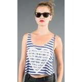LA Collection Stripe Tank with Heart Embellishment - Blue/White