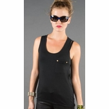 LA Collection Stud Pocket Tank - Black