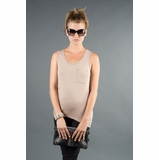 LA Collection Stud Pocket Tank - Taupe