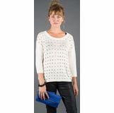 LA Collection Studded 3/4 Sleeve Sweater - White