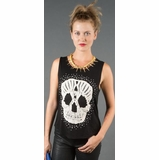 LA Collection Studded Crochet Skull Tank Top - Black