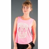 LA Collection Studded Crochet Skull Tank Top - Pink