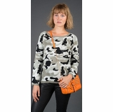 LA Collection Sweater with Rhinestone Detail - Camo