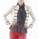 Lucca Couture Fitted Cotton Jacket - Beige