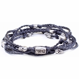 Mac&Lou Abysso 5 Layer Hand Knotted Skull Bracelet - Sterling Silver