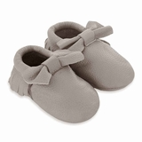 Mac&Lou Baby Bow Leather Moccasins Coin - Silver