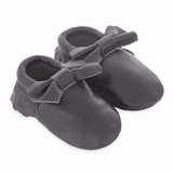 Mac&Lou Baby Bow Leather Moccasins - Dark Grey